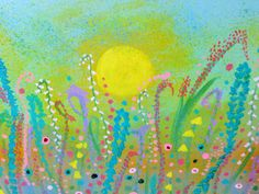 SUNSHINE CAME SOFTLY abstract wildflowers, pastel Spring colors, 12 x 12 in.original modern painting, yellows, blues, greens, lavender, teal by TheMarchOfTime on Etsy