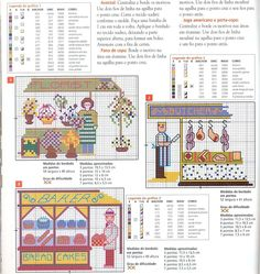The baker, florist and butcher cross stitch