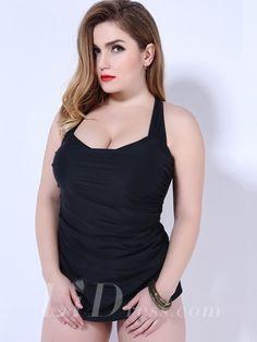 Black One-Piece Plus Size Womens Swimsuit Lidyy1605202009