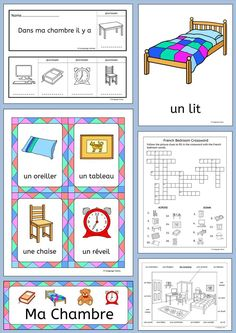 French bedroom vocabulary – Ma Chambre - Flashcards, word wall, handout, worksheets, flip books, activities and games - this 77 page pack contains everything you need to teach 16 French words for talking about 'my bedroom'.