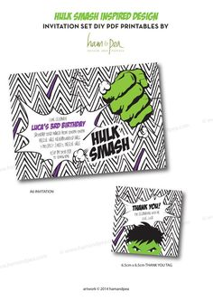 This listing is for a digital printable file of The Hulk Smash Invitation Set (PDF file only, no physical item will be shipped)