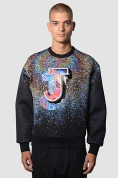 JUUN.J Logo Oil Effect Print Black Neoprene Sweatshirt