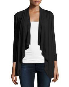 Draped Jersey Cardigan, Black