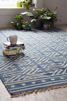 Seawell Indigo Wool Woven Rug - Urban Outfitters
