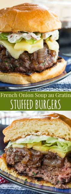 Onion Soup au Gratin Stuffed Burgers - beef hamburgers stuffed with caramelized onions and topped with more onions, cheese, and a French onion spread. An epic burger recipe to grill this summer! Grilling Recipes, Meat Recipes, Dinner Recipes, Cooking Recipes, Stuffed Burger Recipes, Cheese Stuffed Burgers, Grilled Hamburger Recipes, Barbecue Recipes, Sandwich Recipes