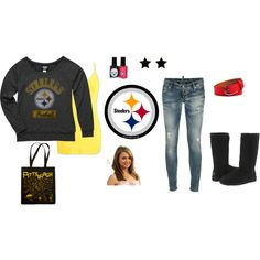 Pittsburgh Steelers, created by snqf on Polyvore Now I just need to find a plastic see through purse?! Lol!