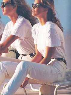 """Tidal Whites"" Michaela Bercu, Claudia Shiffer Pho- Gilles Bensimon US ELLE 1990 that's sweet thx hfgl :)"