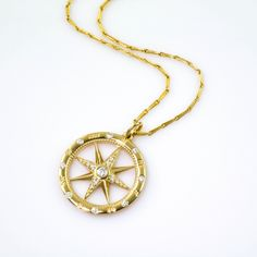 Gold Compass Rose Pendant