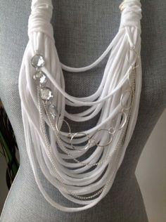 Scarf Necklace White Diamonds