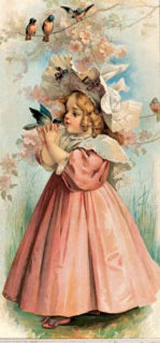 (Part II) Vintage Christmas Playing Bride Maid A Busy Day Playing Bride Maternal Cares Young Girl Holding A Cup With Flower Young Child Playing Banjo Winter Time Birthday Greetings The North Wind D…