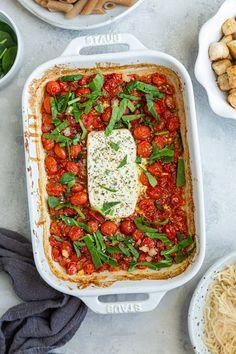 Tomato Pasta Bake, Cherry Tomato Pasta, Feta Pasta, Cherry Tomatoes, Vegetarian Recipes, Cooking Recipes, Healthy Recipes, Vegan Feta Cheese, Baked Pasta Recipes