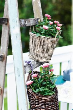 baskets on a ladder......bought my ladder last summer now just need to paint and add basket planters--yeah!