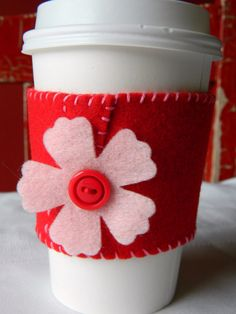 Felt Coffee Cozy in Red and Pink...Tea Cozy. $3.95, via Etsy.
