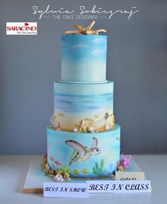 Ocean theme cake - Cake by Sylwia Sobiegraj The Cake Designer - airbrush torte - Ocean Birthday Cakes, Ocean Cakes, Beach Cakes, Cupcakes, Cupcake Cakes, Beautiful Cakes, Amazing Cakes, Cakepops, Nautical Cake