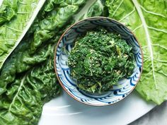 Turn tough chard leaves tender by giving them a light pounding, then dress them in this light sesame-flavored vinaigrette.