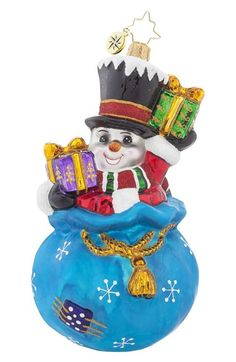 Christopher+Radko+'A+Chilly+Gift'+Snowman+&+Gifts+Ornament+available+at+#Nordstrom