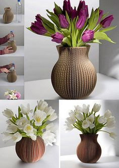 Cover Vase in recycled carton, which can cover plastic bottle