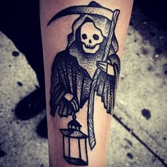 Grim Reaper dot work by Mike Adams