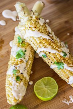 Grilled Corn With Poblano Lime Crema