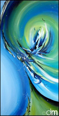 "FOR SALE ~ Hand-Painted 12x24 Abstract Painting ""Dragonfly"" ----BTW, Please Visit: http://artcaffeine.imobileappsys.com"