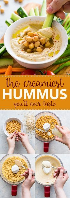 How To Make (The Creamiest) Hummus Ever (Gluten Free, Dairy Free, Vegan) - This is my go-to homemade hummus recipe that makes the creamiest hummus EVER. Once you taste this homemade version, you'll never go back to the store-bought stuff. Vegan Healthy Snacks, Healthy Dip Recipes, Vegan Recipes, Recipes With Tahini Vegan, Recipes With Hummus, Healthy Hummus, Vegan Hummus, Dairy Free Dip Recipes, Dairy Free Dips