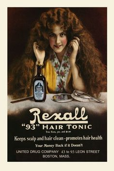 Salon Lady Rexall Hair Tonic Vintage Poster Advertisement Reproduction FREE SH #Vintage  poster grooming room