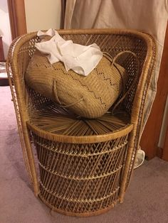 Boho wicker chair. 60's/70's mint condition accent by MLfinds