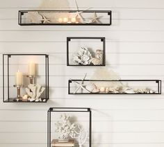 Shop cube display shelves from Pottery Barn. Our furniture, home decor and accessories collections feature cube display shelves in quality materials and classic styles. Wall Decor Set, Modern Wall Decor, Room Decor, Wall Decorations, Beach Theme Wall Decor, Glass Shelves, Display Shelves, Wall Shelves, Wall Bookshelves