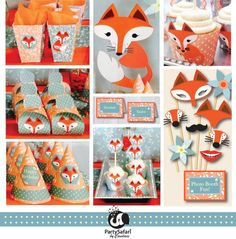 Woodland Red Fox Persعععععع ننتنمنonalized Printable Party Package Red