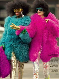 Things I love that are in this picture: Pailettes Tibetan Lamb Saturated colors I also love afros, but my hair will never ever cooperate in making that happen :( | See more about halloween costumes, fur coats and furs.