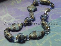 Blue and Gold Glass Beaded Necklace | JiltedRoseCreations - Jewelry on ArtFire