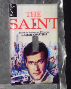 Roger Moore as The Saint book cover: light by TheGristleGallery Roger Moore, Book Cover Art, Switch Plates, Light Switch Covers, Saints, Kiss, Baseball Cards, Tv, Handmade