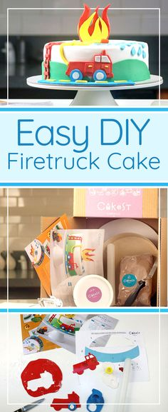 ad DIY easy fire truck cake from cakest.com - simple kits that give you everything you need to make an adorable fire truck cake for a firefighter themed birthday!