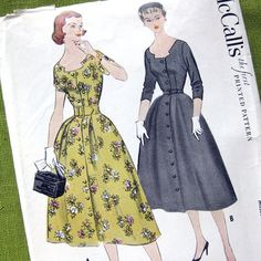 1950s Misses One Piece Dress Vintage Sewing by SelvedgeShop, $16.00