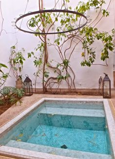 """""""Zellige-covered mini pool"""" at Dar Zahia, Taroudant, Morocco - Just missing the candles above for a candlelit dip / Through the French eye of design Swimming Pool Tiles, Small Swimming Pools, Small Pools, Swimming Pools Backyard, Backyard Pool Designs, Small Backyard Pools, Small Patio, Le Riad, Small Pool Design"""
