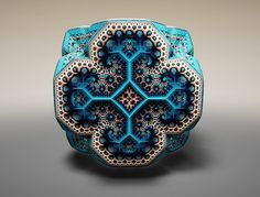 Scotland-based laser physicist-turned-artist and web developer Tom Beddard, aka subBlue, has produced a number of intriguing geometric forms he refers to as Fabergé Fractals. Like an ornate Fabergé egg, Beddard's creations boast brilliant and intricate design patterns. The English artist uses a formulaic method to create his digitally rendered three-dimensional models.