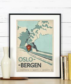 Retro travel poster Norway Oslo Bergen train by EmuDesigns on Etsy