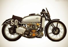 americabymotorcycle:  1939 AJS 500cc SUPERCHARGED V-Four. From back in the days when every bastard was bolting a blower on his GP bike (or car) and risking life and limb!