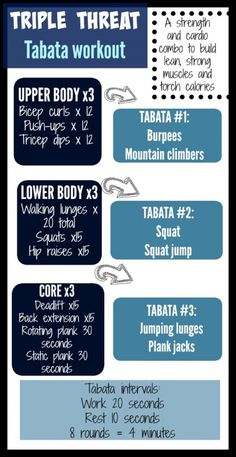 Threat Tabata Workout This looks like a good one! Strength sets in between quick cardio tabata blastsThis looks like a good one! Strength sets in between quick cardio tabata blasts Cardio Training, Mental Training, Tabata Cardio, Emom Workout, Workout Diet, Boxing Workout, Tabata Intervals, Hiit Workout Plan, 45 Minute Workout