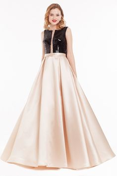 Raphaela Dress: High Neck Ivory Skirt Fit & Flare Long Prom Dres | Glam Union