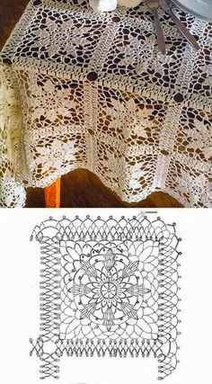 Crochet lace tablecloth square with flower and diamonds motif. Many beautiful filet crochet valances, curtains, doilies etc. Crochet Motifs, Crochet Blocks, Crochet Diagram, Crochet Squares, Thread Crochet, Filet Crochet, Crochet Doilies, Crochet Stitches, Granny Squares