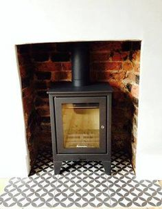 BCT Bertie tiles being used on a hearth Looks good?buy them now at Tiledealer Living Room Update, Living Room Modern, My Living Room, Living Room Decor, Bedroom Fireplace, Home Fireplace, Living Room With Fireplace, Fireplace Ideas, Wood Burner Fireplace