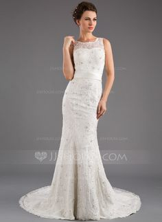 - $196.99 - Trumpet/Mermaid Scoop Neck Court Train Satin Lace Wedding Dress With Beading Sequins Bow(s) (002035872) http://jjshouse.com/Trumpet-Mermaid-Scoop-Neck-Court-Train-Satin-Lace-Wedding-Dress-With-Beading-Sequins-Bow-S-002035872-g35872