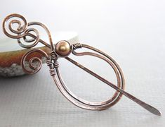 Scarf pin or shawl pin in copper paisley shape with by IngoDesign