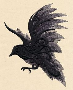 machine embroidered raven