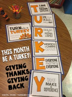 This month be a TURKEY! Have your students focus on giving thanks and giving back. Poster set, Journal, and more. Thanksgiving Bulletin Boards, November Bulletin Boards, Church Bulletin Boards, Thanksgiving Activities, Holiday Activities, Thanksgiving Crafts, Classroom Activities, Preschool Bulletin, Thanksgiving Classroom Door