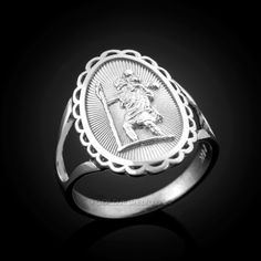 Sterling Silver Saint Christopher Oval Women's RingMetal: 925 Sterling SilverAvailable in & gold purity.Weight: g. White Gold Rings, Silver Rings, Silver Infinity Ring, Saint Christopher, Oval Rings, Rings For Men, Rose Gold, Sterling Silver, Unique Jewelry