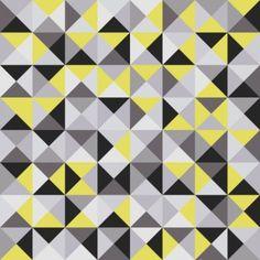 """Tissu de coton """"Zélie stora trianglar"""" à triangles gris & jaunes"""