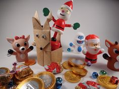 Origami Reindeer Container Christmas Decoration DIY  Meet the gang! Finger puppets and candy from Target, Tall Santa is from Hobby Lobby.
