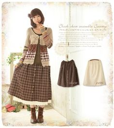 Two points of set skirt * of the cotton race petticoat which a brown check to feel skirt check petticoat autumn charms a chiller from one .* ゜ hem which is a British country, and does it